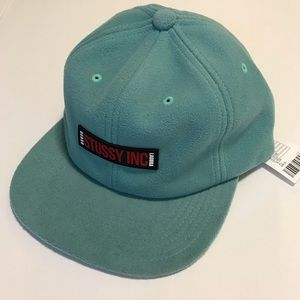 Stussy Fleece Baseball Hat Cap Green NWT